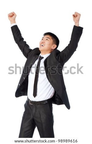 successful excited asian young business man hold fist, portrait of businessman with arms wide open hands up wear elegant suit and tie isolated over white background