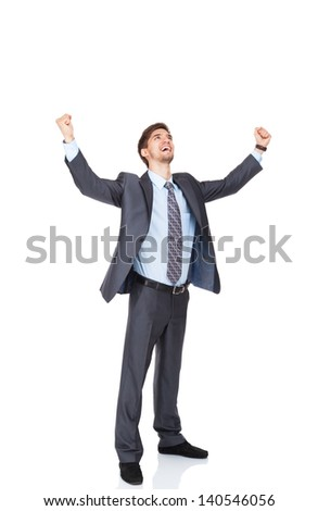 Successful excited business man happy smile hold fist gesture, handsome young businessman with raised hands arms, wear elegant shirt and tie isolated over white background