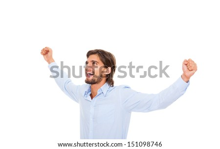 Successful excited business man happy smile hold fist ok yes gesture, handsome young businessman raised hands arms looking side up to empty copy space, wear blue shirt isolated over white background