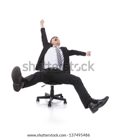 Successful excited Business man sitting in chair, young businesspeople smile raised hands arms, Isolated over white background, asian people - stock photo