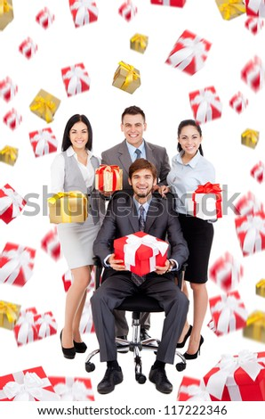 Successful excited Business people group team hold gift box presents fall fly around, man leader sitting in chair, young businesspeople smile, Isolated over white background - stock photo