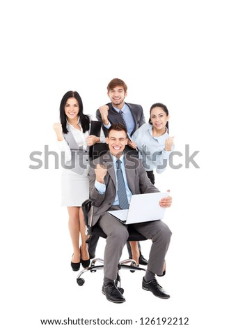 Successful excited Business people group team with colleague sitting in chair, young businesspeople smile raised fist hands arms, Isolated over white background, concept leader success collaboration