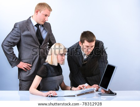 Successful group of young beautiful business people. Working in office - stock photo