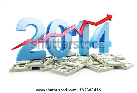 successful growth of profits in the business in 2014 - stock photo
