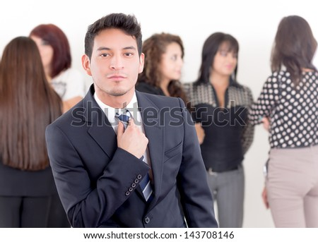 Successful hispanic young business man at the office - stock photo