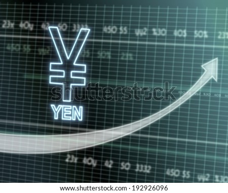 successful investmanet chart with a Japan Yen symbol on a stock market table with rising graph arrow - stock photo