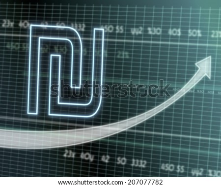 successful investmanet chart with a Shekel symbol on a stock market table with rising graph arrow - stock photo