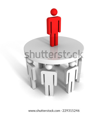 successful leader of team on top. business success achivement career concept 3d render illustration - stock photo
