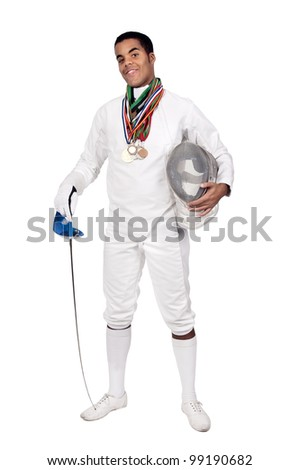 Successful male fencer with lots of medals - stock photo