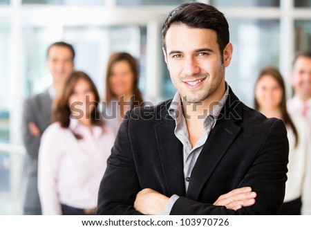 Successful man being leader of a business group