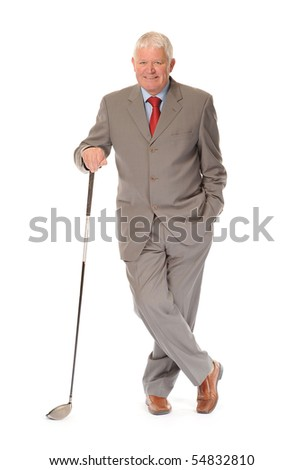 Successful mature business man on white background, with golf club