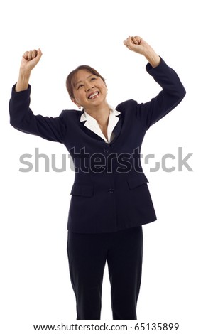 Successful senior Asian American business woman happy for her success, she's smiling and looking up isolated over white background - stock photo