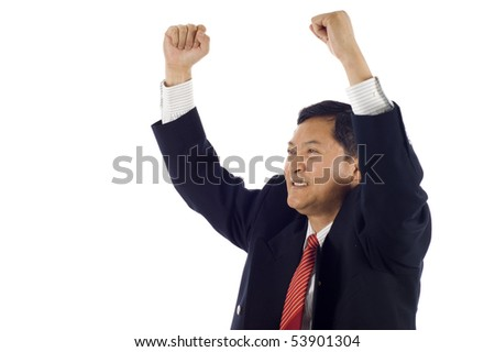Successful Senior Asian business man celebrating success isolated over white background - stock photo