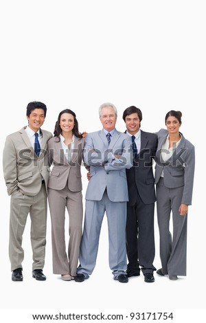 Successful senior salesman with his team against a white background