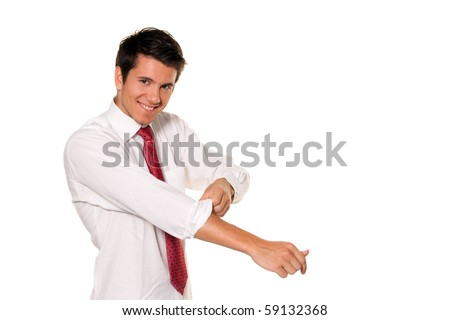 Successful, strong and powerful tackle. Roll up your shirt sleeves. Men's shirt. - stock photo