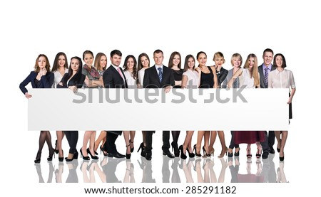 Successful team standing with billboard isolated on white