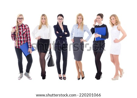 successful team - young attractive business women isolated on white background - stock photo