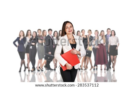 Successful woman standing with their staff in background isolated on white