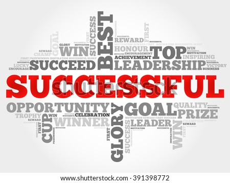 Successful word cloud, business concept - stock photo