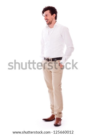 successful yound adult man casual business outfit isolated on white background