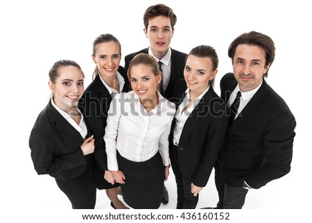 Successful young business people team isolated on white background