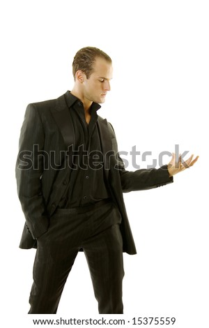Successful young business person against white background