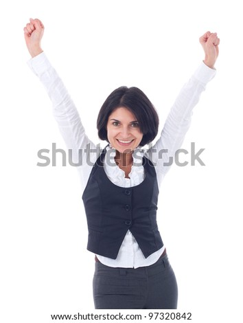 Successful young business woman happy for her success - stock photo