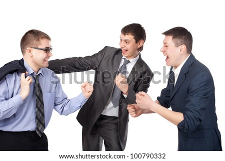 Successful young businesspeople gesturing with fists isolated on white background - stock photo
