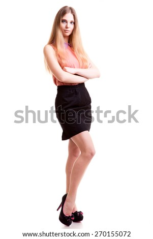 Successful young businesswoma over white background full boy. Studio shooting. Young and successful. Young businessperson full body isolated over white background - stock photo