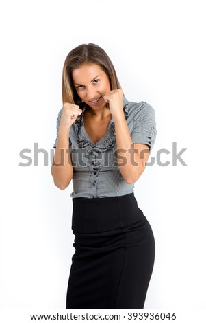 Successful young caucasian business woman, ready for a fight. Isolated on white background. Strength, power or competition concept image