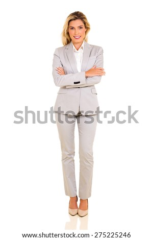 successful young corporate worker posing on white background - stock photo