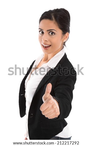 Successful young indian business woman isolated over white. - stock photo