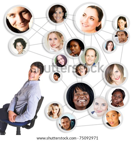 successful young man sitting on cahir with social network friends and business partners in a diagram