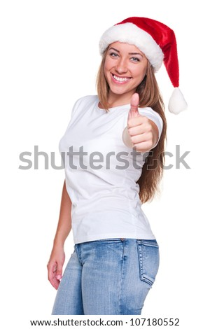 successful young woman ready for christmas and showing thumbs up. isolated on white background - stock photo