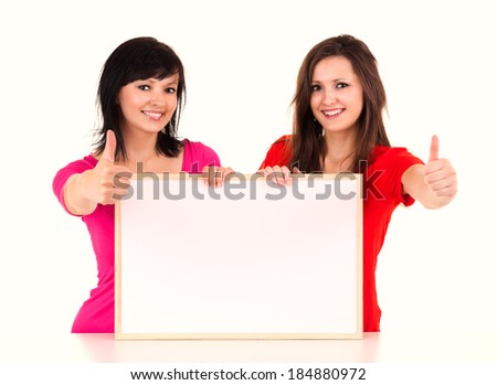 successful young woman with whiteboard, white background - stock photo