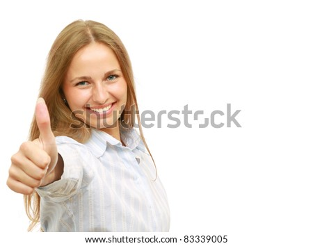 Successfull joyful young business woman giving thumbs up. Lots of spare copyspace