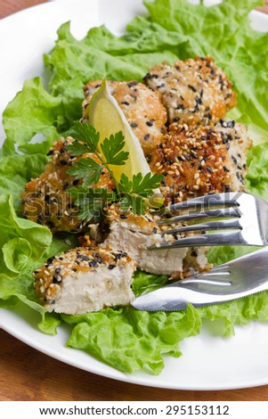 succulent chicken in black and white sesame seeds - stock photo