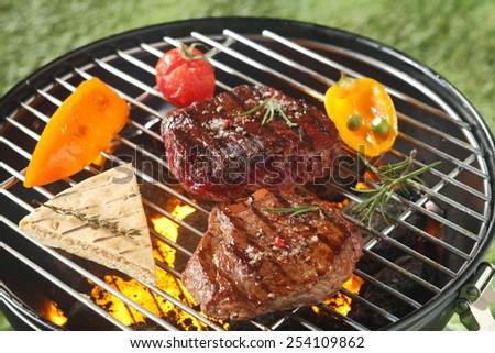 Succulent tender rump steak seasoned with fresh rosemary grilling on a barbecue with a slice of pita bread, tomato and sweet peppers - stock photo