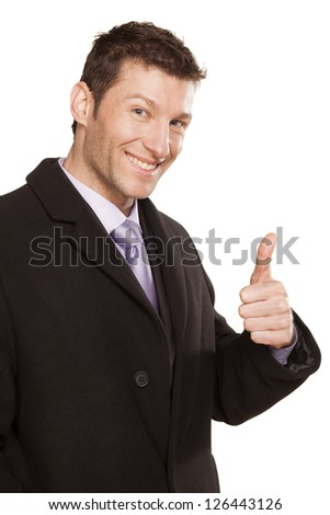 sucefull smiling man showing thumb up on white background