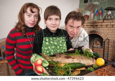 Such prepared fish will suffice on all family. - stock photo