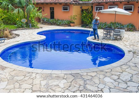 SUCHITOTO , EL SALVADOR - MAY 07 : A swimming pool in Suchitoto El Salvador on May 07 2016. the colonial town of Suchitoto built by the Spaniards in the 18th century