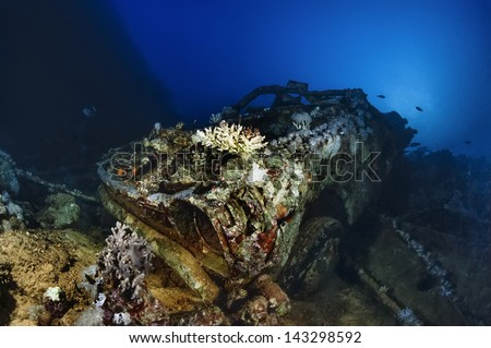 SUDAN, Red Sea, Sha'ab Swadi, U.W. photo, Toyotas wreck, one of the many cars that were aboard the sunken ship - FILM SCAN - stock photo