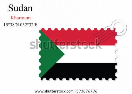 sudan stamp design over stripy background, abstract art illustration, image contains transparency