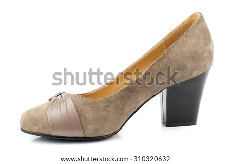 Suede women shoe isolated on white background. - stock photo