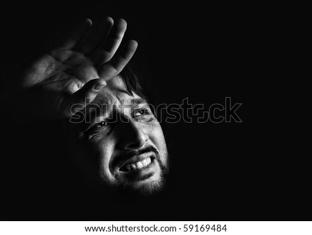 Suffer, man, low key photo - stock photo