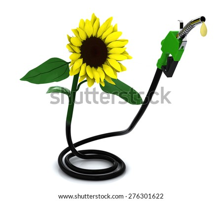 suflower and fuel pump, 3d illustration  - stock photo