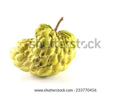 Sugar Apple ( custard apple, Annona, sweetsop,Cherimoya fruit )  on white background - stock photo