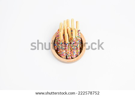 Sugar Cookie With Sprinkles Isolated On White - stock photo