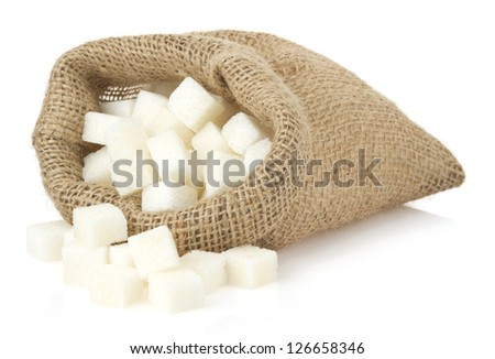sugar cubes in bag sack isolated on white background - stock photo