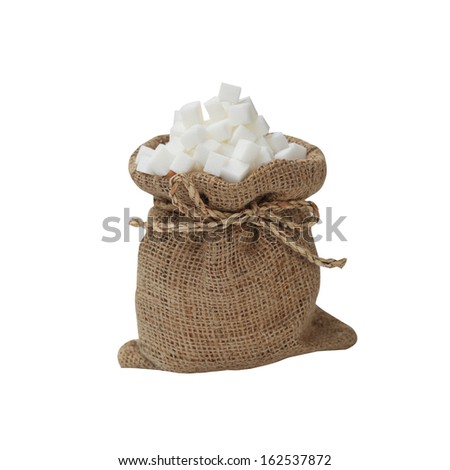 sugar cubes isolated on white background - stock photo